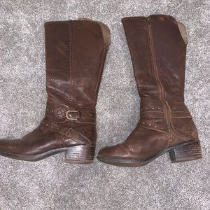 Brown leather UGG riding boots